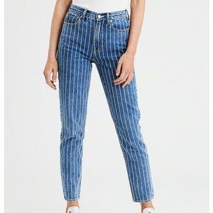 American Eagle Retro Striped Mom Jeans